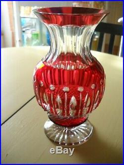 Rare Vase Cristal Multicouche Rouge Modele Tommy St Louis