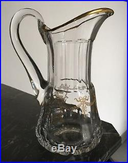Rare carafe Broc En cristal de Saint Louis modèle Bartholdi Or avec dorures Neuf