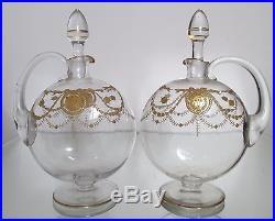 SAINT LOUIS 2 Carafes Carafons Cristal Gravé et doré à l'or modèle Congress