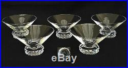 SAINT-LOUIS 5 Coupes à Champagne en Cristal Modèle Diamant Art Déco