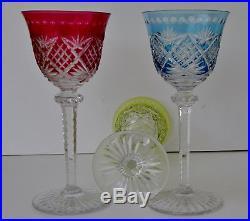 saint louis 5 grands verres vin du rhin roemer cristal multicolore sign s verres cristal st. Black Bedroom Furniture Sets. Home Design Ideas