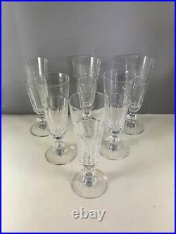 SAINT LOUIS 6 flûtes à champagne cristal a cotes 18,3 cm