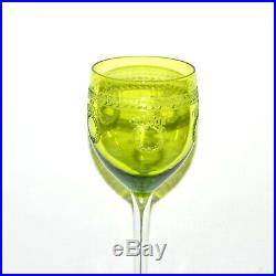 SAINT-LOUIS 6 verres à vin Roemer MADRID Gravure byzantine Vert Chartreuse SL