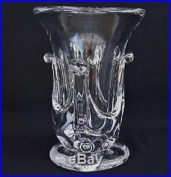 SAINT LOUIS ART VERRIER Grand Vase en Cristal à Coulées en Gros Relief