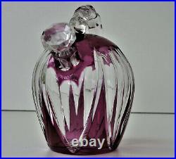 SAINT-LOUIS Carafe à Liqueur Cristal Doublé Améthyste Taillé vers 1930