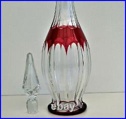 SAINT-LOUIS Carafe à Vin Cristal Doublé Rouge Taillé Côtes Plates ca 1920/1930