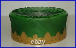 SAINT-LOUIS Coupe Cristal Vert Givré Gravé Acide Modèle Nelly Empire Doré 1900