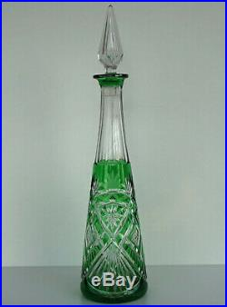 SAINT-LOUIS Grande Carafe à Vin (42cm) Cristal Overlay Vert Emeraude ca 1920