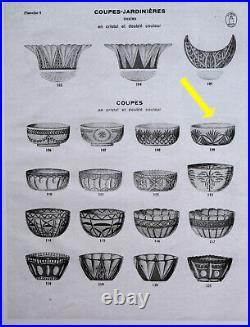 SAINT-LOUIS Grande Coupe Cristal Taillé Doublé Rubis Référence Catalogue 1930