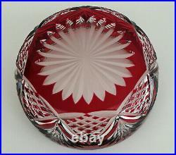 SAINT-LOUIS Grande Coupe en Cristal Taillé Doublé Rouge Rubis