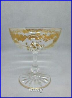 SAINT-LOUIS MASSENET OR 2 superbes coupes à champagne gravées