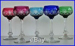 SAINT-LOUIS Modèle Massenet 5 verres à Vin du Rhin Roemer Cristal de Couleur