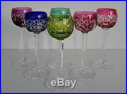SAINT-LOUIS Modèle Riesling 6 Verres à Liqueur en Cristal Coloré Signés