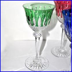 SAINT-LOUIS Roemers TOMMY Verres à vin du Rhin x6 Cristal doublé couleurs RARE