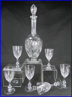 SAINT LOUIS SPLENDIDE SERVICE 6 VERRES + CARAFE CRISTAL MOD. MASSENET Ca 1900