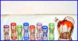 SAINT-LOUIS. Service à porto Art déco, cristal clair doublé couleur (étiquette)