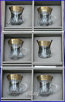 saint louis thistle or 6 tasses th caf en cristal neuves en boite verres cristal st louis. Black Bedroom Furniture Sets. Home Design Ideas