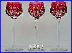 SAINT-LOUIS TRAMINER Trois Verres à Vin du Rhin Roemer Cristal Overlay Rouge