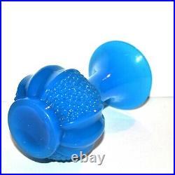 SAINT-LOUIS Vase Grenade Napoléon III opaline de cristal bleu Epoque 1845-1865