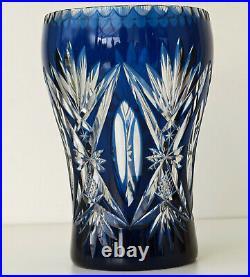 SAINT-LOUIS Vase en Cristal Doublé Bleu et Taillé vers 1920/30