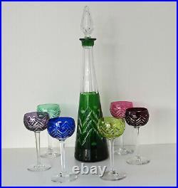 SERVICE A LIQUEUR Carafe + 6 Verres Cristal Taillé Doublé Couleur Saint-Louis