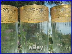 St Louis Thistle 3 Grandes Chopes 14cm Cristal Grave Or Art Nouveauparfaites