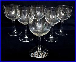 ST SAINT LOUIS 6 verres à EAU en CRISTAL gravés d'une couronne Royale SIGNES