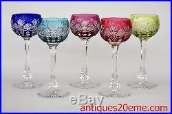 Série de 5 verres à vin du Rhin Roemer en cristal de Saint Louis Niepce