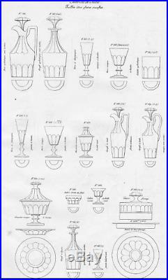 Saint Louis Caton 6 Verre A Eau Vin Cristal Taillé Cotes Plates Weingläser 19ème