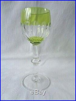 Saint Louis Caton Verre A Vin Rhin Roemer Cristal Doublé De Couleur Coloré Vert