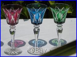 Saint Louis Lot de 12 verres de couleur cristal doublé modèle Camargue, h 20,3