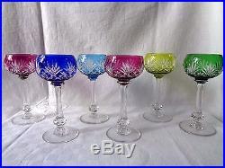 Saint Louis Massenet 6 Verre Vin Cristal Roemer Taillé Doublé De Couleur Coloré