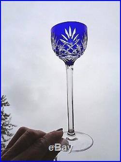 Saint Louis Massenet Service A Vin Roemer Cristal Doublé De Couleur Coloré Bleu
