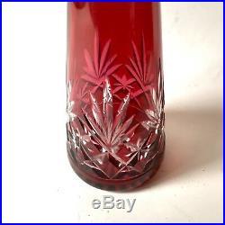 Saint Louis Modèle Massenet Carafe En Cristal Doublé Rouge Rubis