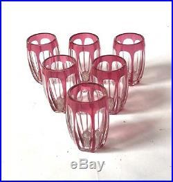Saint Louis Modèle Overlay 6 Verres A Digestif En Cristal Doublé Rouge Rubis