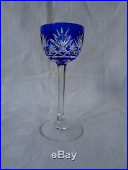 Saint Louis Saké Set Service A Liqueur Cristal Doublé De Couleur Coloré Bleu