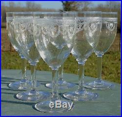 Saint Louis Service de 6 verres à eau en cristal gravé, modèle Manon