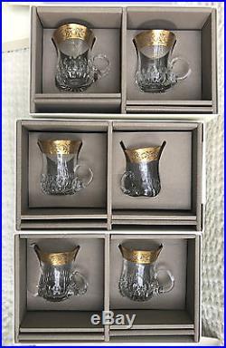 Saint Louis Thistle or. 6 tasses à thé / café en cristal. Neuves en boite