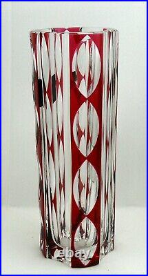 Saint Louis, beau vase cristal doublé rouge, intact, signé, 24,5 cm