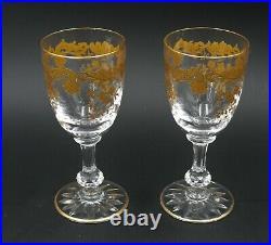 Saint Louis modèle Massenet doré, 2 verres à vin, 13 cm numéro 4, excellent état