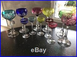 Saint-louis Service 6 Verres A Vin Colores Cristal Overlay Roemer Signes