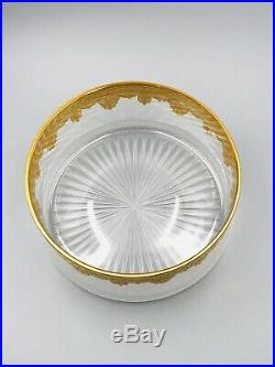 Saladier en cristal de SAINT LOUIS aux fleurs et palmettes Or French Art Nouveau