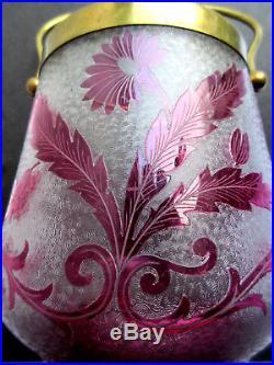 Seau à biscuits XIXè signé St LOUIS, pot cristal dégagé à l'acide Fleurs rubis