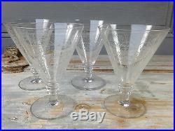 Serie De 4 Verres A Vin Cristal Saint Louis Graves Arabesques