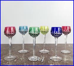 Série De 6 Verres À Vin Du Rhin En Cristal De Saint Louis (signés) De 20,5cm H