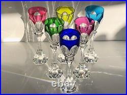 Serie De 6 Verres A Vin Roemer Cristal De Saint Louis Modele Chambord Overlay