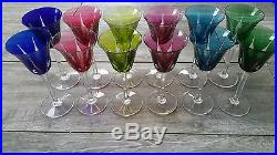 Serie de 12 Verres a vin Rhin doublé couleur cristal Saint-Louis modele Cerdagne