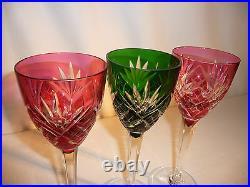 Série de 3 verres eau vin cristal Saint LOUIS modèle Chantilly de couleur