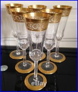 Série de 6 flûtes à champagne en Cristal et dorure Saint Louis Modéle Thistle