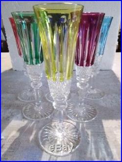 Série de 6 flûtes à champagne en cristal de St Louis modèle Tommy colorées